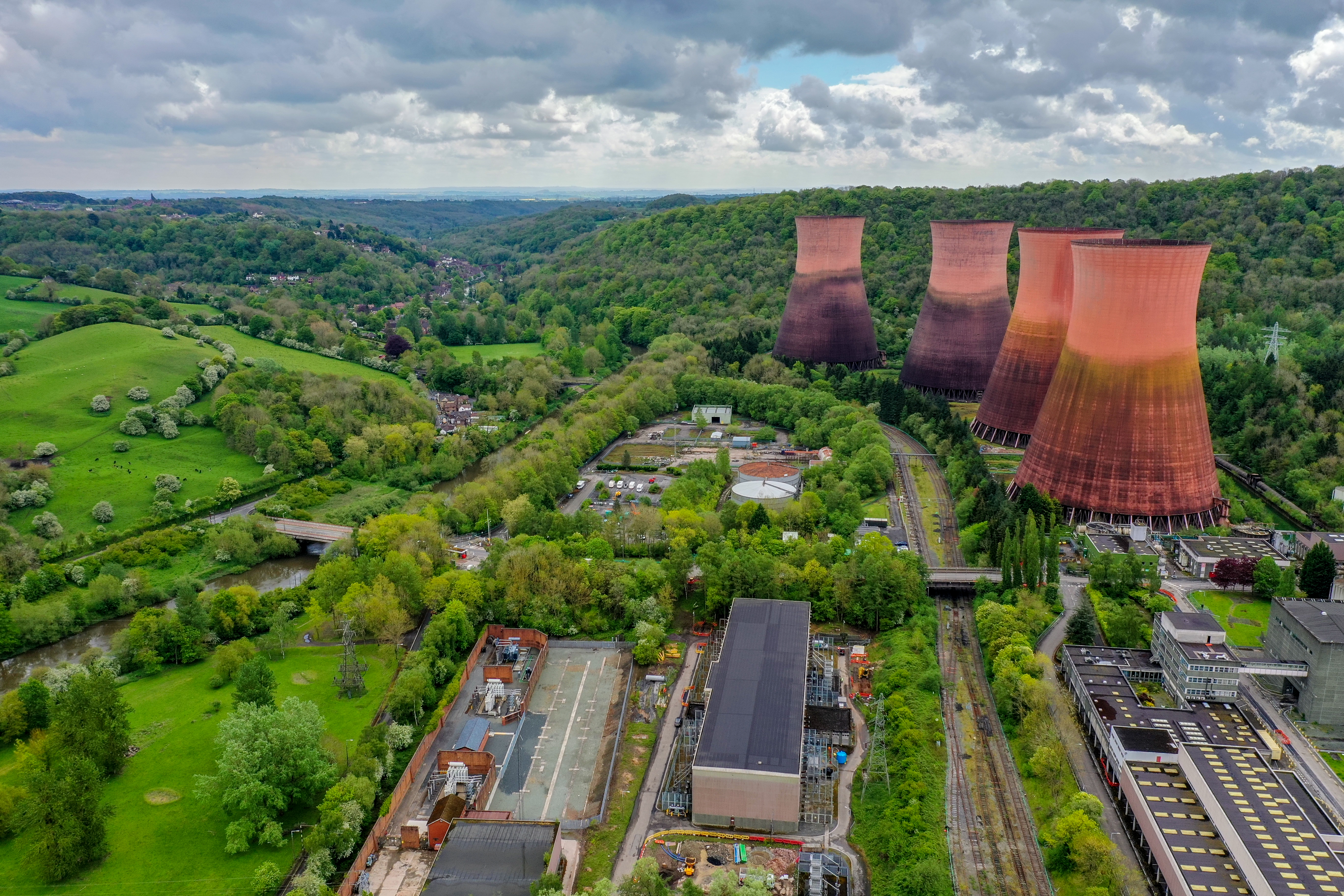 Drone Aerial Photography of Ironbridge Powerstation.
